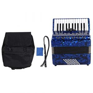 Bnineteenteam Accordéon Musical 26 Instruments durables de Basse Grave accordéon Instrumental(Bleu)
