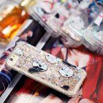 Edaroo Coque Pour iPhone 8 PLUS, Paillette Liquide Or 3D Diamant BrillanteCoeurs Glitter Transparente Souple Tpu Gel Case Noir Blanc Bouledogue Modèle Antichoc Protection Etui Housse Bumper
