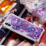 Edaroo Coque Pour iPhone X/iPhone XS, Paillette Liquide Violet 3D Diamant BrillanteCoeurs Glitter Transparente Souple Tpu Gel Case Capteur de rêves bleu Modèle Antichoc Protection Etui Housse Bumper