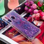 Edaroo Coque Pour Samsung Galaxy A40S, Paillette Liquide Violet 3D Diamant BrillanteCoeurs Glitter Transparente Souple Tpu Case Capteur de rêves bleu Modèle Antichoc Protection Etui Housse Bumper