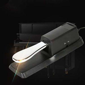 ETbotu Pédale sustain pour clavier noir Midi en métal noir pour piano électrique (carton)
