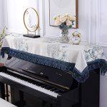 EXCLVEA Clavier électronique Couverture Anti-poussière pou Piano Dust Cover décoratif Tissu Couvre Clavier Vertical Serviette de Piano avec des couvertures de Banc Double