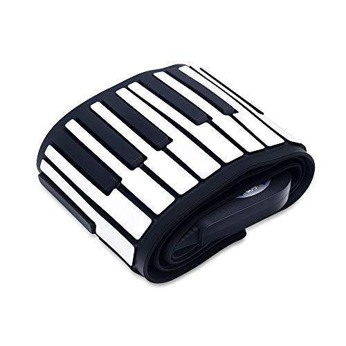 Feixunfan Roll Up Piano 88 Touches Piano électronique roulées à la Main en Silicone Bluetooth Clavier Piano for Adulte débutant pour Enfant Jouet Adulte (Color : Black, Size : 88 Keys)