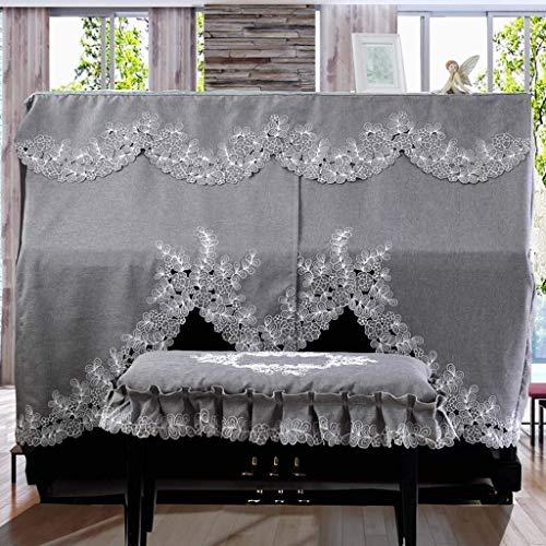 G-AO Couverture de piano droit, la taille universelle, tissu de poussière de polyester, ensemble de mobilier européen de broderie classique (taille: personnalisable) (Size : Piano cover+38x58cm)