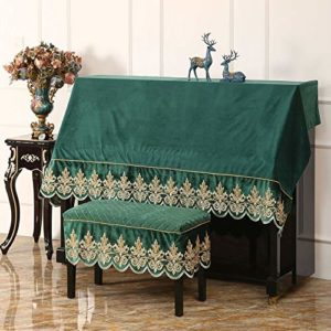 Housse anti-poussière décorative pour piano American Style Piano Droit Half Dust Cover Avec Tabouret Couverture VERTICALE standard Pianos Housse de protection ( Couleur : Green-B , Taille : 56x36cm )