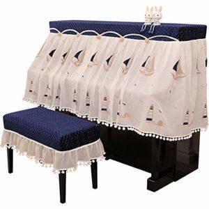 Housse Anti-poussière décorative pour Piano Protection Fil Double Tissu en Coton Couverture Piano Demi Couverture Couverture avec Banc for Verticale Standard Pianos