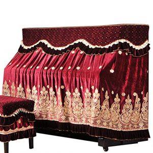 Housse de Piano élégante Dentelle Broderie Piano Parfaitement coréenne Ice Soie Faux Laine Broderie poussière Tissu avec Couverture Tabouret (Color : Green, Size : 76x36cm)