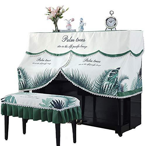 Housse de Piano Housse de Piano à Queue Piano Droit Parfaitement Dentelle Palmier Motif Tissu de Protection Anti-poussière décoratif Couverture avec Banc Couverture