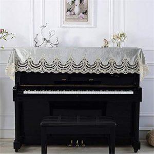Housse de Protection Contre la poussière pour Piano Classique Vert avec Dentelle brodée à la Machine de 90 x 200 cm, Universelle pour Pianos verticaux Standard, Tissu, a, Taille Unique