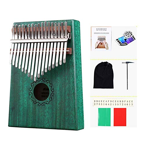 Jiutinggood Piano à pouce 17 touches Kalimba en bois avec sac de transport 9.06 x 7.48 x 3.15 inches Vert