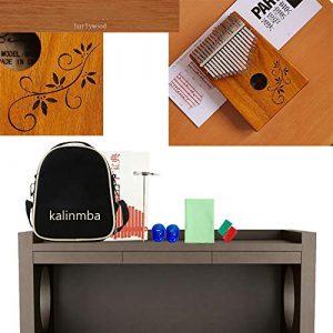 Kalimba 17 Touches Acacia Thumb Piano Instrument Portable, Mbira Avec Accord D'éTude Sac à Dos Hammer Tuning, Cadeau Festival Musical Pour DéButants Enfants Adultes,A