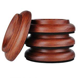KingPoint Lot de 4 patins de protection pour roulettes de piano en bois dur Piano Caster Cups-Jacoranda
