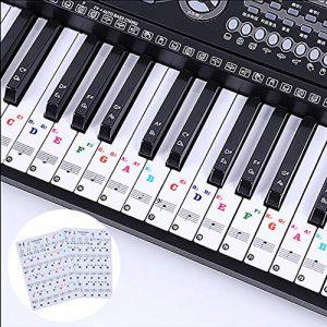 LABOTA 2Pcs Autocollants Piano, Autocollants Amovibles de Piano pour 88/61/54/49/37 Enfants Débutants Apprentissage du Piano – Transparents Et Amovibles