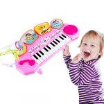 LVPY Piano pour Enfants, 3 en 1 Multifonction 24 Touches Piano en Plastique Instrument de Musique Pédagogique Jouet pour Enfants, Rose