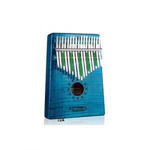 Muziwenju Piano Kalimba 17 touches, érable pur grain Tigre, belle sonorité, facile à transporter et facile à apprendre, dernière version de la bande sonore bleue Bien fait (Color : Blue-17E)