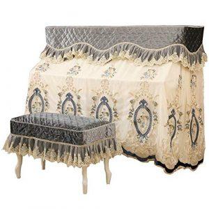 Nobrannd Housse de Piano Pratique Piano Droit Dust Cover Craft Broderie Dentelle Tissu avec Couverture Tabouret Durable Anti-Rayures (Color : Gray, Size : 78x38cm)