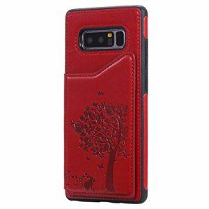 Ramcox Galaxy Note 8 Coque, Premium Étui Portefeuille en Cuir, Résistant aux Chocs Housse à Rabat avec Fermeture Magnétique pour Samsung Galaxy Note 8, Rouge