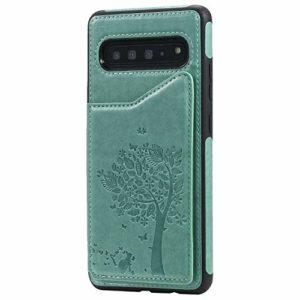 Ramcox Galaxy S10 5G Coque, Premium Étui Portefeuille en Cuir, Résistant aux Chocs Housse à Rabat avec Fermeture Magnétique pour Samsung Galaxy S10 5G, Vert