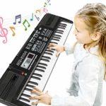 RenFox Clavier de Piano Enfants, Clavier Electronique 61 Touches Piano Jouet Clavier avec Microphone et Connecteur d'alimentation, Keyboard Piano pour Les Enfants D¡§ butants Cadeau