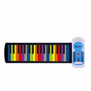 Roll Up Piano Couleur des Enfants Clavier de Piano laminé à la Main 37 Touches Piano Droit pour Enfant Jouet Adulte (Color : Blue, Size : 64×12.5cm)