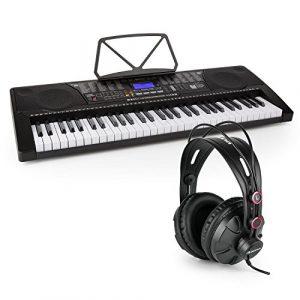 Schubert Etude 255 USB – Synthétiseur d'apprentissage, Casque 61 Touches MIDI LCD, Fonctions Enregistrement et Playback, Entraînement avec 3 Modes d'apprentissage, Casque de Studio fermé Inclus