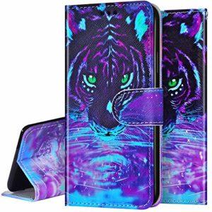 Surakey Etui Coque iPhone 11 Étui Housse en Cuir Portefeuille Coque Magnétique Flip Cover Fentes de Cartes Dessin Imprimé Pochette Coque Protection avec à Rabat Stand,Tiger