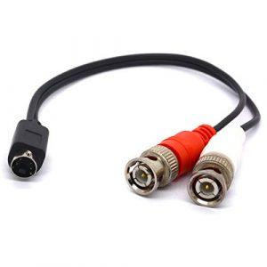 SVHS vers BNC câble répartiteur 4broches SVHS mâle vers double BNC connecteur femelle S adaptateur vidéo S-vidéo connecteur pour caméras de vidéosurveillance amplificateurs Coax Câbles