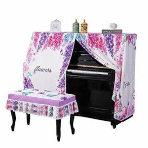 Tabouret Piano Couverture Couverture Dust Piano numérique Motif Fleurs Piano droit Couverture avec banc Couverture Bordée protection anti-poussière couverture de protection anti-poussière Tissu