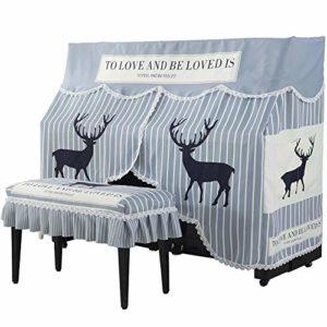 Tollmllom Housse de Protection pour Piano Rayé Moose Motif imprimé Nordique Upright Piano Couverture brodé Tissu antipoussière Parfaitement Décoration de Piano (Couleur : Gris, Size : 80x40cm)