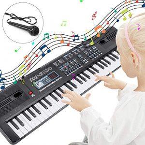 TOYSBBS Piano pour Enfants, Enfants Clavier Piano électrique Clavier 61 Touches Portable Instrument de Musique Jouet Piano pour Garçons Débutants Filles