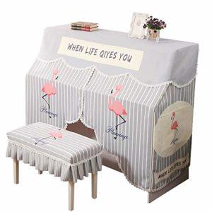 Vaxiuja Tabouret Piano Couverture Couverture Dust Piano numérique Impression Nordique Striped Flamingo Piano Parfaitement Piano Serviette Simple Standard for antipoussière Piano Vertical