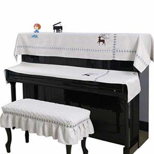 Vaxiuja Tabouret Piano Couverture Couverture Dust Piano numérique Trois Polyester Piano Serviette Piece Set Imprimer Simple Modern Piano Couverture Couverture Clavier avec Banc Couverture