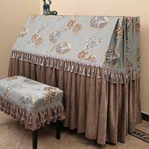 WH-IOE Clavier Couverture Piano Droit Parfaitement Anti-poussière Blemish Rayures Couverture de Protection en Tissu Couverture Chenille Rideau Bleu comme la Conception Scratch Anti-poussière