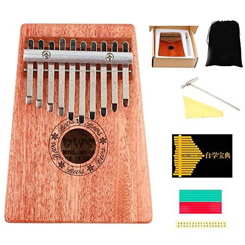WHR-HARP Kalimba 10, Piano à Pouces à 10 Touches avec Conception de Ligne de Main Incurvée, D'Instruments de Musique Portable Facile à, avec Marteau de Réglage et Instructions d'apprentissage,10tones
