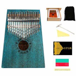 WHR-HARP Kalimba Enfant, Piano à 17 Touches avec Ligne de Main Incurvée, Cadeau D'Instruments de Musique Portable Facile à Apprendre, avec Marteau d'accord et Instructions d'apprentissage (Acajou)