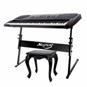 WHR-HARP Support de Piano-Z-Style Support de Musique Lourd Portable RéGlable, Support de Clavier et Ensemble de Banc, pour Enfants et Adultes,B