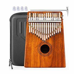 17 Touches Kalimba Koa/Bois D'Acacia C Ton Pouce Piano Clavier Instrument Calimba Piano Naturel Africain Avec éTui à Marteau Pour Enfants DéButants Adultes