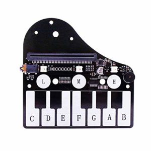 Carte d'extension de piano à 12 touches, carte d'extension de piano Microbit avec carte d'extension de piano Buzzer RGB Lights Music Play, un buzzer passif et une interface de sortie audio