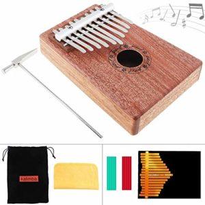 CHENTAOMAYAN 10 Clé Kalimba Pouce Acajou Massif Piano Mbira Naturel Mini Instrument à Clavier avec Accessoires