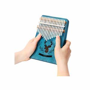 CXZA Pouce Piano, Kalimbaqin 17 Son Piano Doigt débutant 17 Seul Son Instrument de Musique en Acajou Unique, (Couleur : Bleu)