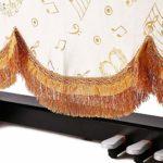 European Style Piano Droit poussière Parfaitement Tissu bronzante Non-Housse Tissu avec Double Piano Bench Couverture Durable Reprise de Piano (Couleur : Blanc, Taille : 190x133cm)