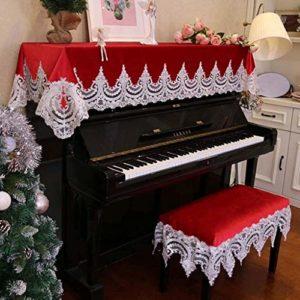 G-AO Couvercle anti-poussière rouge instrument droit de broderie de dentelle de couverture piano décoration poussière tissu Housse table de toilette serviette (taille: 90x210cm + 38x58cm)