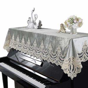 G-AO Couverture moderne moitié piano droit décoration bord dentelle romantique tissu de poussière de piano couverture européenne de la poussière de clavier instrument de musique housse de protection (