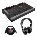 IK Multimedia UNO Synth Synthétiseur analogique monophonique portable avec casque Polsen HPC-A30 et câble MIDI