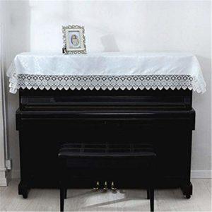 JIGM Housse de piano en dentelle beige avec housse brodée en tissu pour piano 90 x 180 cm, Tissu, b, Taille unique