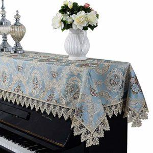 Jill Ernest Bonne qualité Antipoussière Universal Half Couverture Couverture Piano Dentelle européenne Tissu Piano Serviette for Verticale Standard Pianos Durable ( Color : Blue , Size : 90x200cm )