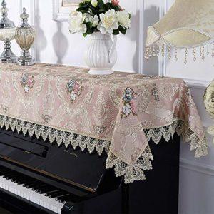 Jill Ernest Bonne qualité Antipoussière Universal Half Couverture Couverture Piano Dentelle européenne Tissu Piano Serviette for Verticale Standard Pianos Durable ( Color : Pink , Size : 90x200cm )