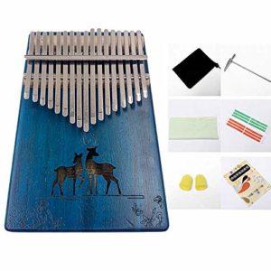 Kalimba 17 Touches Pouce Piano, Acacia Mbira Clavier Instrument De Musique Avec Accessoires Complets, Cadeau Festival Pour Camarade De Classe Enfants Musicien Adulte DéButants,Blue-Deer
