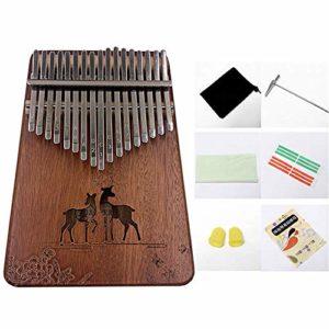 Kalimba 17 Touches Pouce Piano, Acacia Mbira Clavier Instrument De Musique Avec Accessoires Complets, Cadeau Festival Pour Camarade De Classe Enfants Musicien Adulte DéButants,Natural-Deer