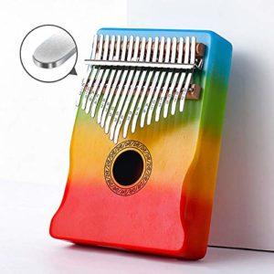 Kalimba African Rainbow Thumb Piano 17 Touches Mbiro Avec Instruction D'éTude Et Marteau Pour Camarade De Classe Enfants Adulte Amateur De Musique Festival Cadeau